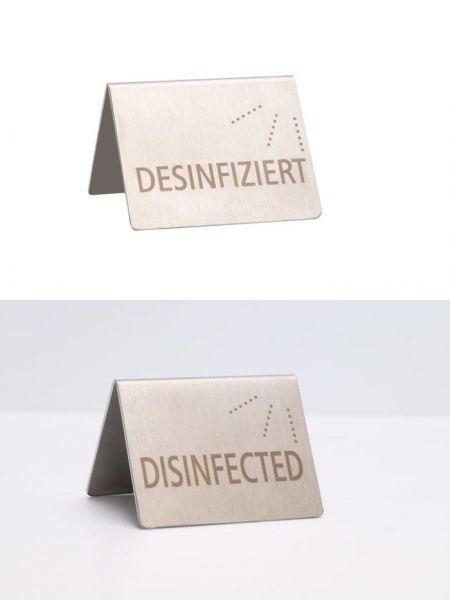 Tischaufsteller 5x4,5cm DESINFIZIERT 18/0 mattiert