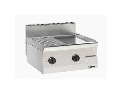 Elektro-Griddleplatte glatt / gerillt 2 Zonen Tischgerät 400V B 600 T 600 H 290