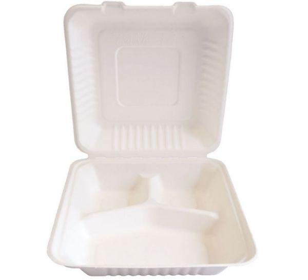 25 Stück Lunchbox 22,5x20x9cm 3-geteilt weiß