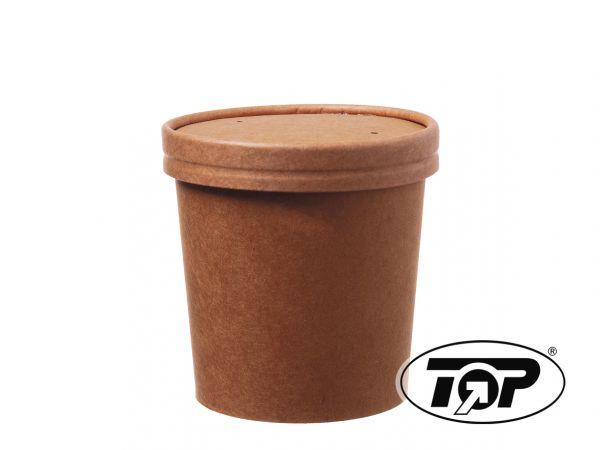 50 Stück Deckel zu 16oz/450ml Soup to Go braunKraftpapier+PLA-Beschichtung/braun+transparent