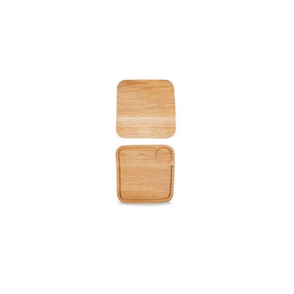 Holz-Brett eckig 26x26cm OAK WOOD